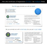 FAA UAS Certificate of Registration emailed compared to hard copy replica
