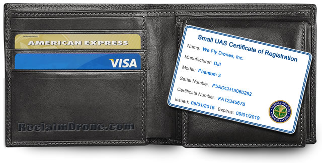 FAA Small UAS Certificate of Registration ID Card for commercial or business drone pilots shown as credit card size with wallet