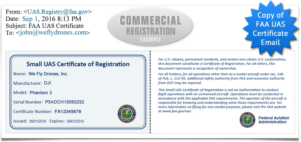 Copy of email from FAA upon completion of FAA UAS Registration for commercial drone or aircraft pilots