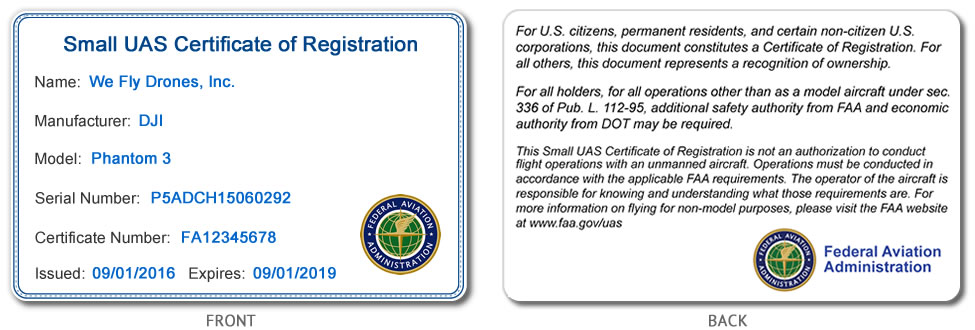 FAA small UAS registration certificate ID card for commercial or business pilots showing both the front and back of the ID card