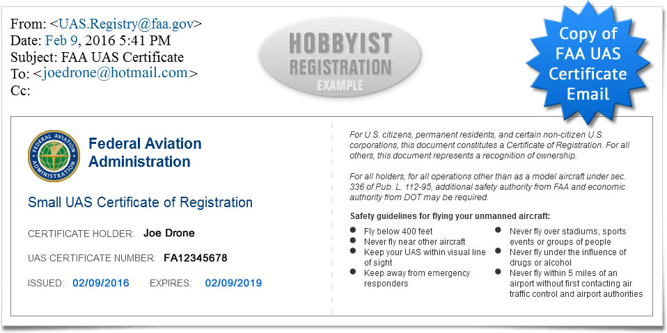 Copy of email from FAA upon completion of FAA UAS Registration for hobbyist
