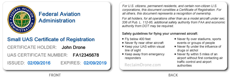 FAA small UAS registration certificate ID card for hobbyist pilots showing both the front and back of the ID card