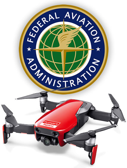 FAA logo behind Mavic Air drone labeled with FAA number