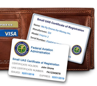 FAA Certificate of Registration ID cards by ReclaimDrone.com