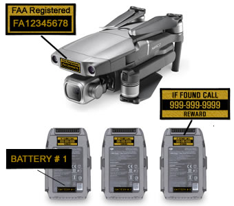 FAA Drone ID labels on DJI Mavic 2 Pro | Zoom and its batteries