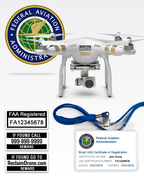 FAA Drone Registration with drone with labels