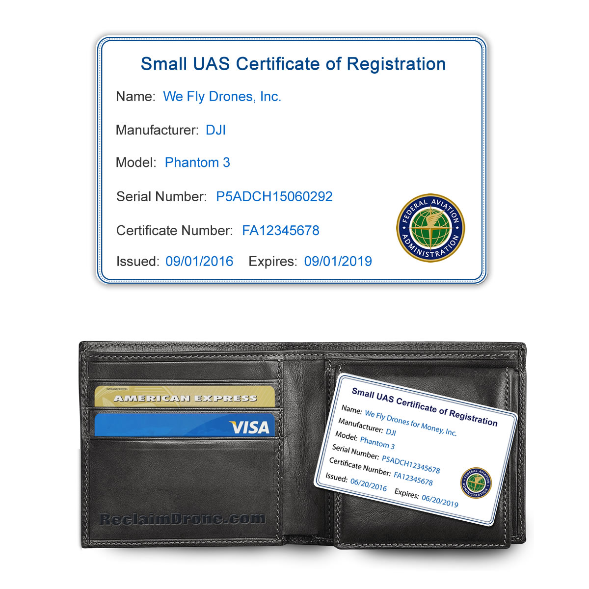 FAA UAS Certificate of Registration ID Card for commercial drone pilots