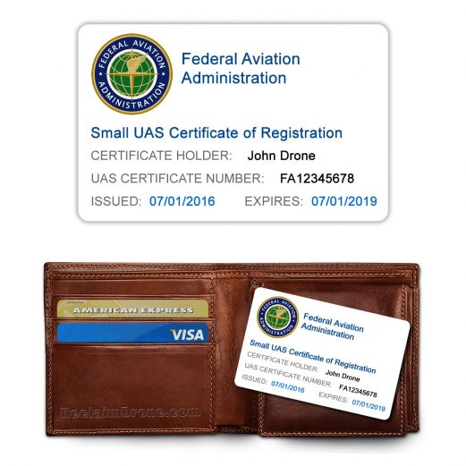 FAA UAS Certificate of Registration ID Card for hobbyist drone pilots