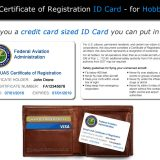 FAA UAS Registration ID Card shown with wallet