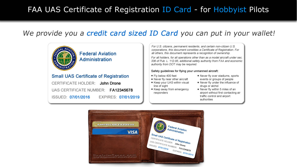 Guidelines for submitting a photo for your id card - Faa Uas Registration Id Card Shown With Wallet