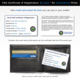 FAA UAS Certificate of Registration replica front and back side shown with wallet, for commercial pilots