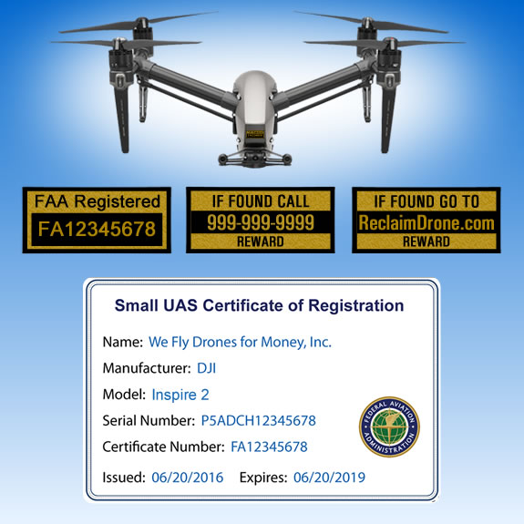 Phantom 3 with FAA UAS Registration ID Card and Labels