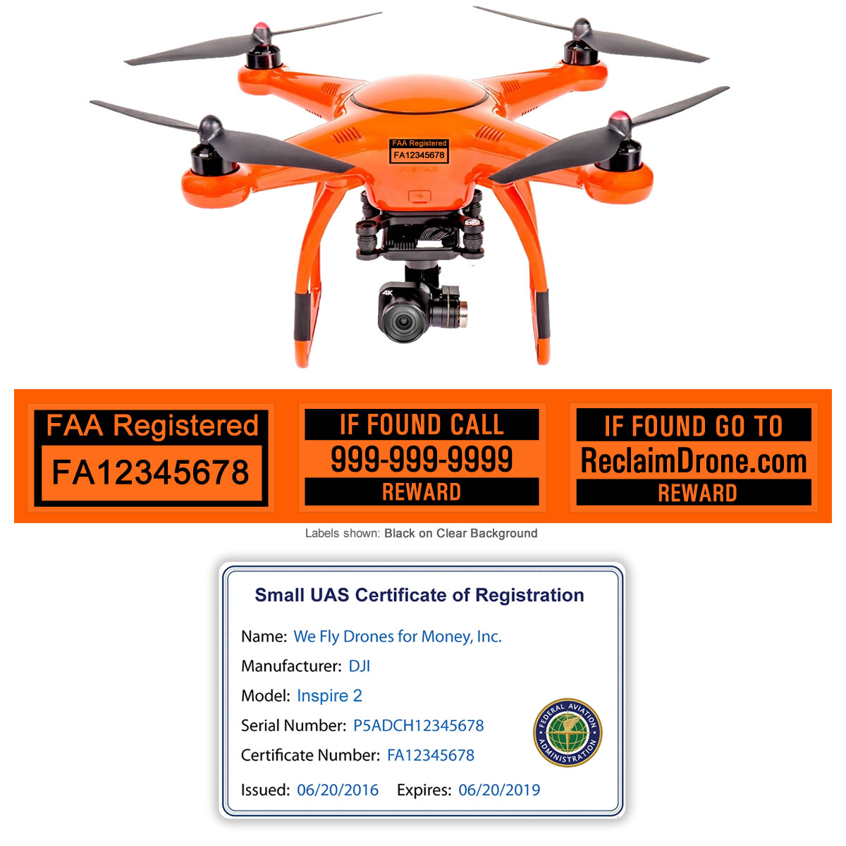 Autel X-Star Premium drone shown with FAA ID Card and Labels
