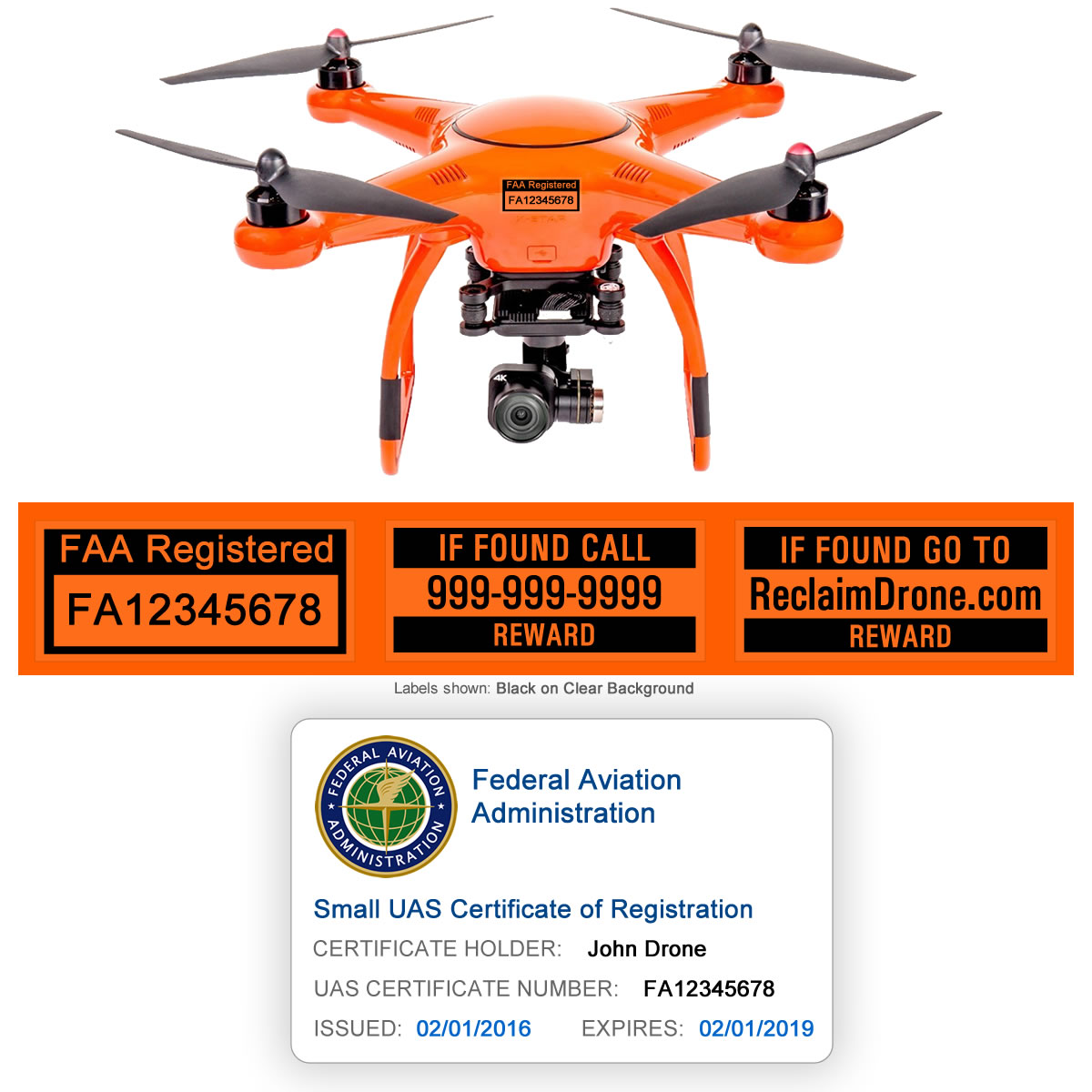 X-Star Premium Drone shown with FAA ID Card and FAA labels