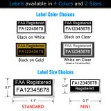 FAA Registration drone label color and size choices