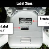 Dtone label sizes shown on drone