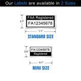 Drone identification label sizes