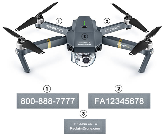 Mavic Pro drone with FAA number, phone number and ReclaimDrone.com labels applied in case of loss