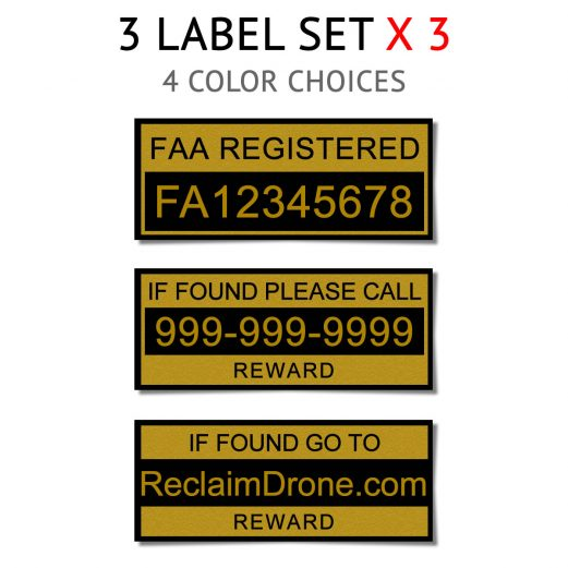 Drone FAA Registration labels in multiple sizes and colors
