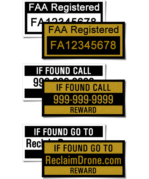 Drone labels, one with FAA UAS number, one if found, one go to website