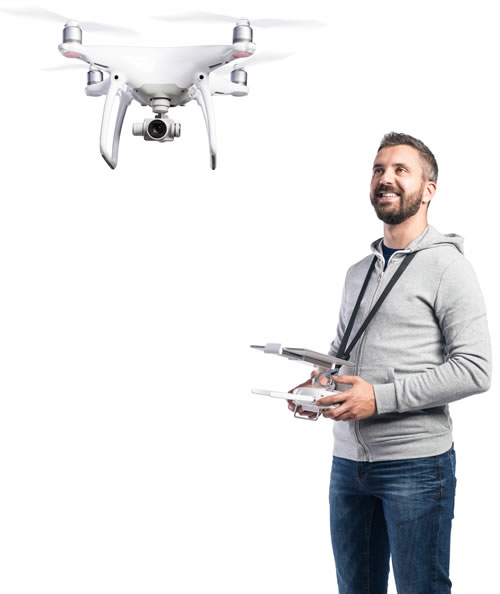 Man flying drone close by