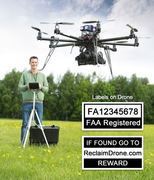 Man flying drone in field