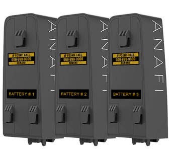 Parrot Anafi drone numbered battery labels