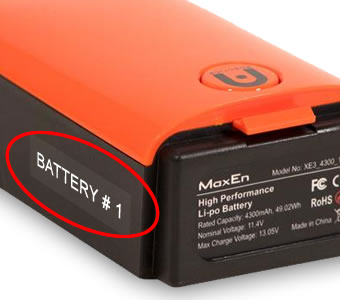 Autel Evo drone numbered battery labels