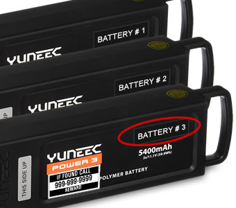 Yuneec Typhoon Q500 drone numbered battery labels