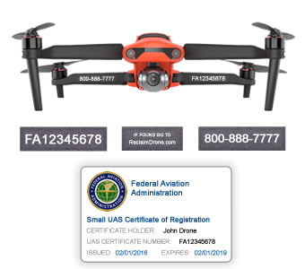 Autel Evo 2 - Bundle - FAA Registration Labels and Hobbyist FAA ID Card