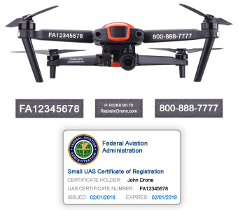 Autel Evo FAA Certificate Registration ID card and label bundle for hobbyist drone pilots