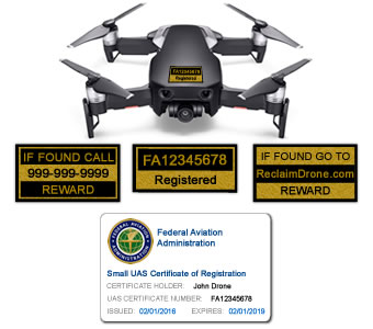 Mavic Air FAA Certificate Registration ID card and label bundle