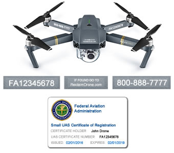 Mavic Pro FAA Certificate Registration ID card and label bundle for hobbyist drone pilots