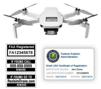 DJI Mini 2 - Bundle - FAA Registration Labels and Hobbyist FAA ID Card