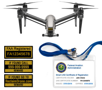 DJI Inspire 1 | 2 FAA Certificate Registration ID card and label bundle for hobbyist drone pilots