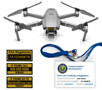 Mavic Pro 2 or Zoom FAA Certificate Registration ID card and label bundle for hobbyist drone pilots