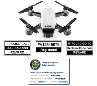 DJI Spark FAA Certificate Registration ID card and label bundle