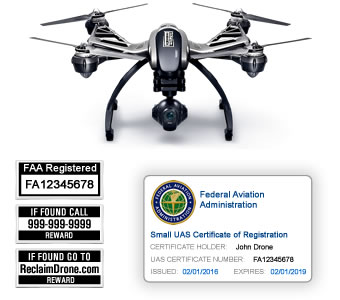 Yuneec Typhoon Q500 FAA Certificate Registration ID card and label bundle for hobbyist drone pilots
