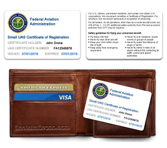 FAA UAS Certificate of Registration ID Card