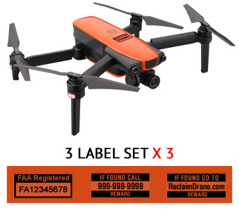 Autel Evo FAA UAS Registration and phone number labels by Reclaimdrone.com