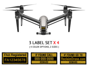 DJI Inspire 1 | 2 FAA UAS Registration and phone number labels by Reclaimdrone.com
