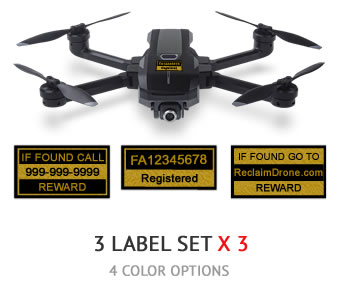 Yuneec Mantis Q FAA UAS Registration and phone number labels by Reclaimdrone.com