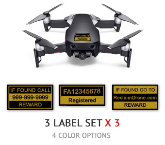 DJI Mavic Air FAA Certificate of Registration and identification labels