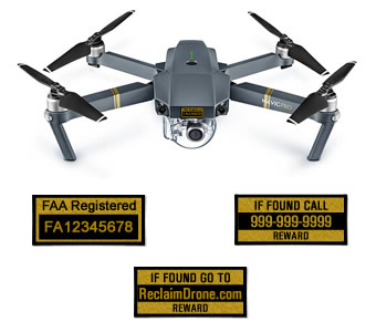 DJI Mavic Pro FAA Certificate of Registration and identification labels