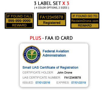 Drone FAA UAS Registration Certificate and identification labels for hobbyist drone pilots