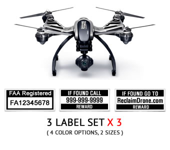 Yuneec Typhoon Q500 FAA UAS Registration and phone number labels by Reclaimdrone.com