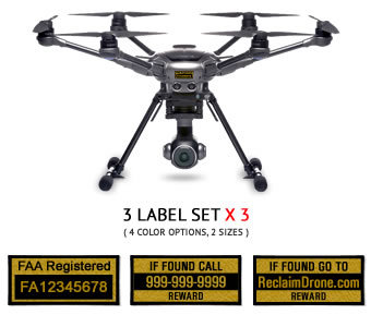 Yuneec Typhoon H FAA UAS Registration and phone number labels by Reclaimdrone.com