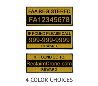 Drone FAA Registration Labels in multiple colors