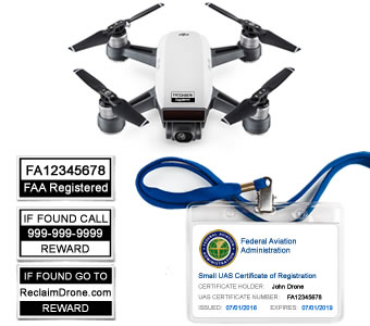 DJI Spark drone with FAA Certificate Registration ID card and label bundle