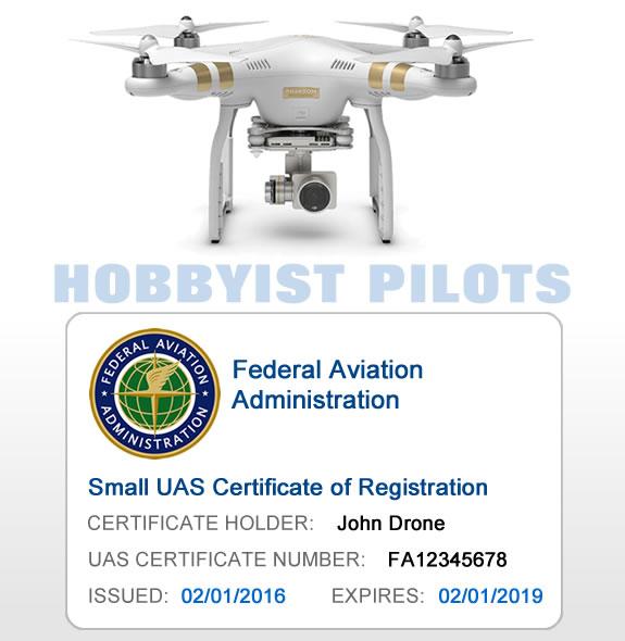 FAA UAS Certificate of Registration Card – For Hobbyist Pilots